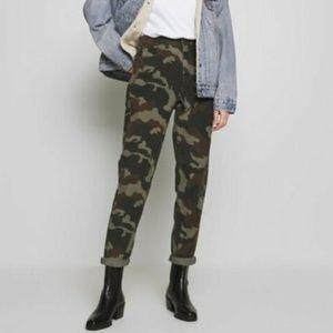 American Eagle Green Camo Corduroy Mom Jeans